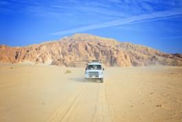 Driving in the desert in Egypt