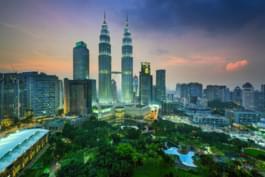 Blick auf die Petronas Towers, Kuala Lumpur