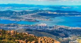 Blick über Hobart, Tasmanien