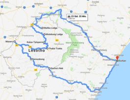 Route mit dem Mietwagen, Lesotho