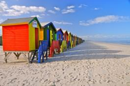 Colorful houses at the beach of Muizenberg