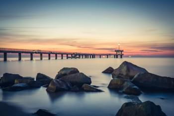 View of the Sea Bridge in Burgas, Bulgaria