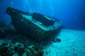 Nave affondata nella baia di Pigs