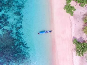 Pink Beach in Indonesia