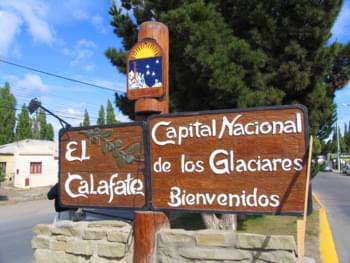 Willkommens-Schild El Calafate, Argentinien