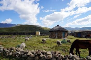 Typische Steinhäuser in Lesotho