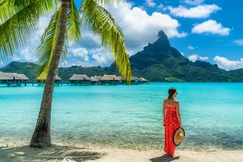 Fantástica playa en la Polinesia Francesa