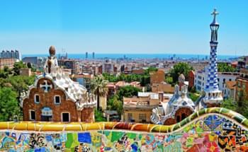 Uitzicht over Barcelona stad vanuit Park Güell