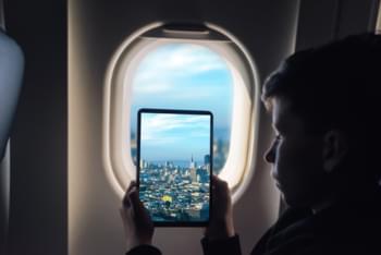 Uitzicht vanuit het vliegtuig naar San Francisco