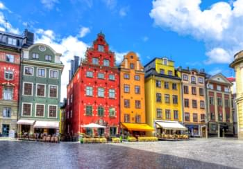 Colourful houses in Stockholm, Sweden