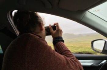 Fahrer macht Foto