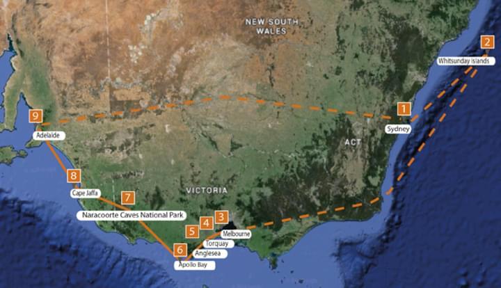 Karte vom Süden Australiens
