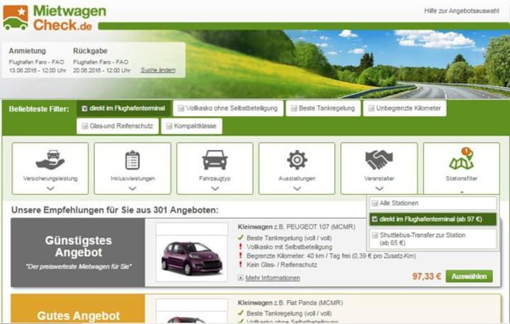 Filter und Angebote bei MietwagenCheck