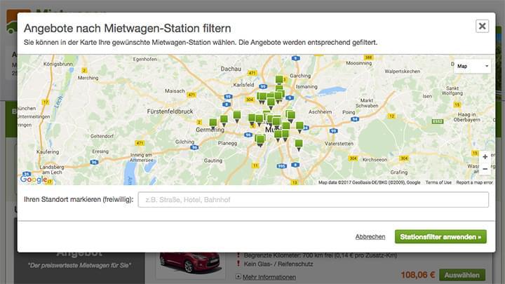 Karten-Anzeige aller Stationen
