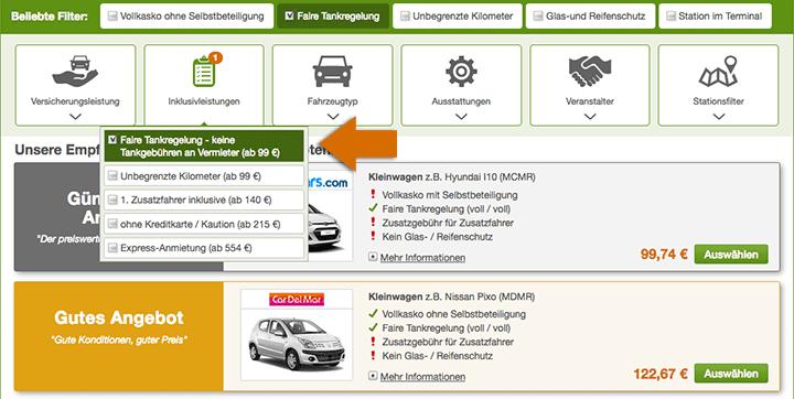 Passende Inklusivleistungen für den Mietwagen