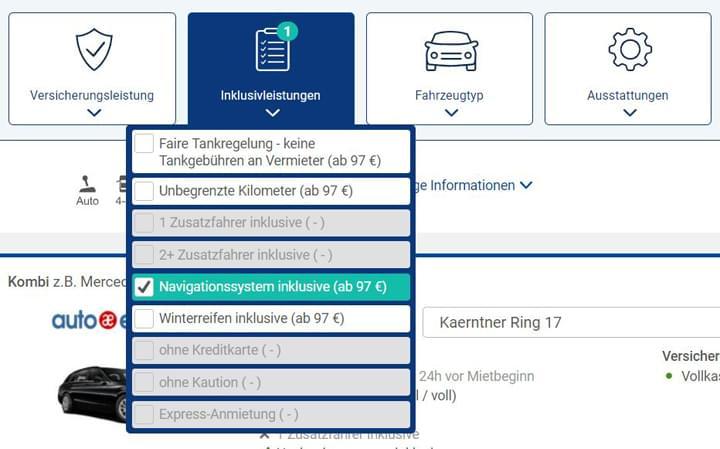 Wählen Sie den Filter 'Navigationsgerät' aus