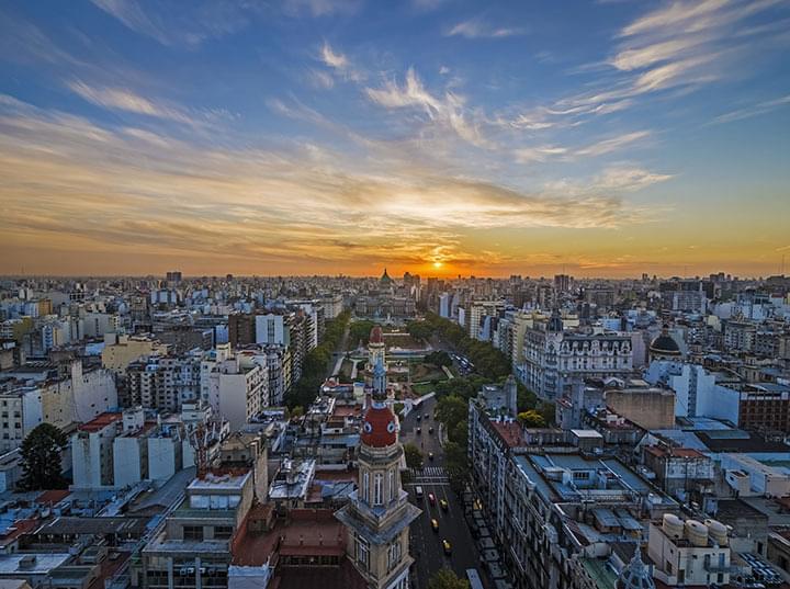 Atardecer en Buenos Aires en Argentina