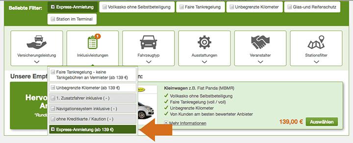 Filter Mietwagen Expressanmietung
