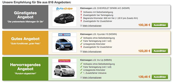 Preisvergleich Mietwagen