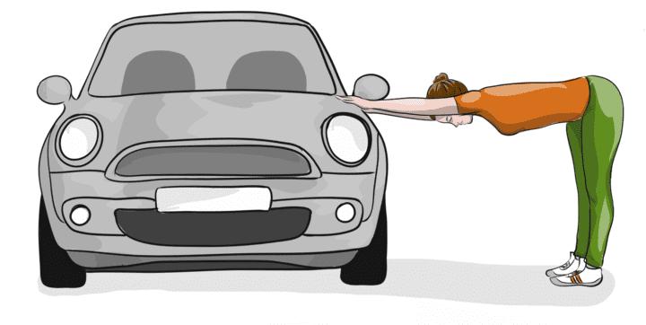 Der gebeugte Stand am Auto