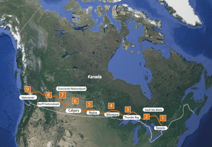 Karte Roadtrip durch Kanada